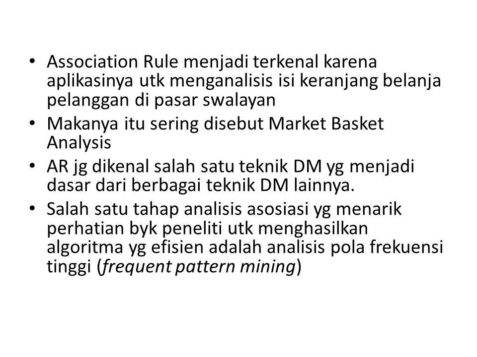 Association Rule menjadi terkenal karena aplikasinya utk menganalisis isi keranjang belanja pelanggan di pasar swalayan
