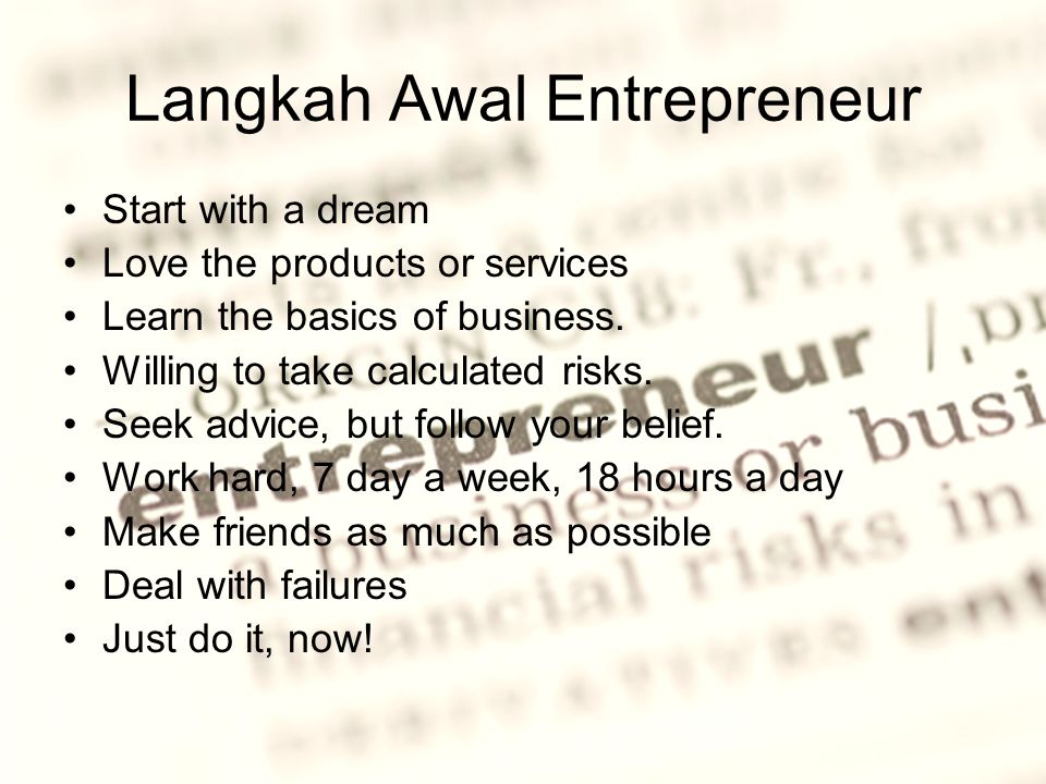 Langkah Awal Entrepreneur