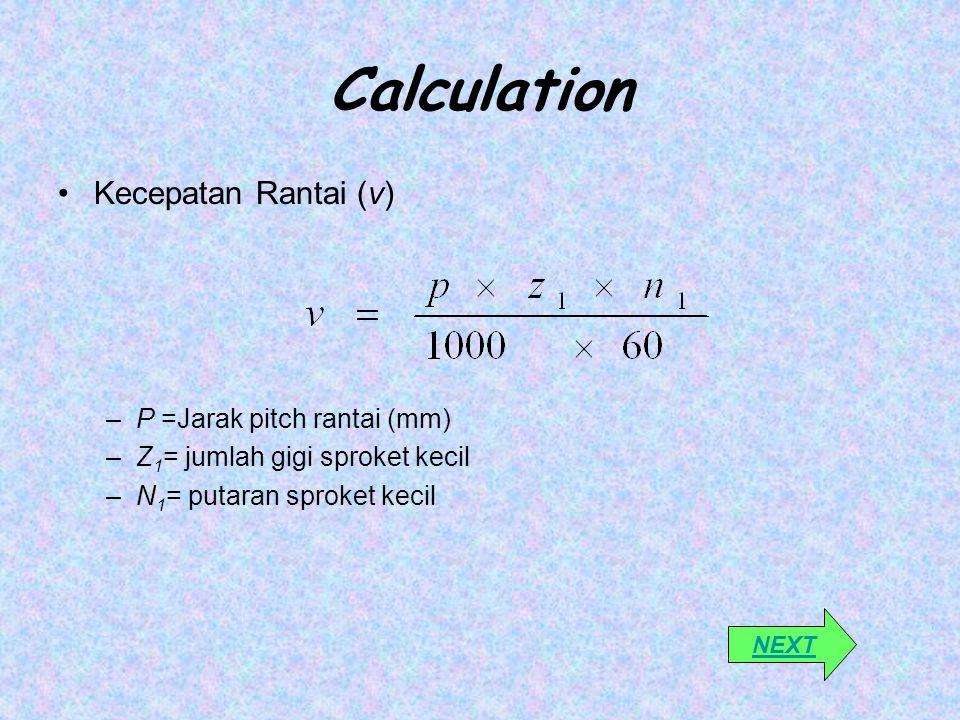 Calculation Kecepatan Rantai (v) P =Jarak pitch rantai (mm)