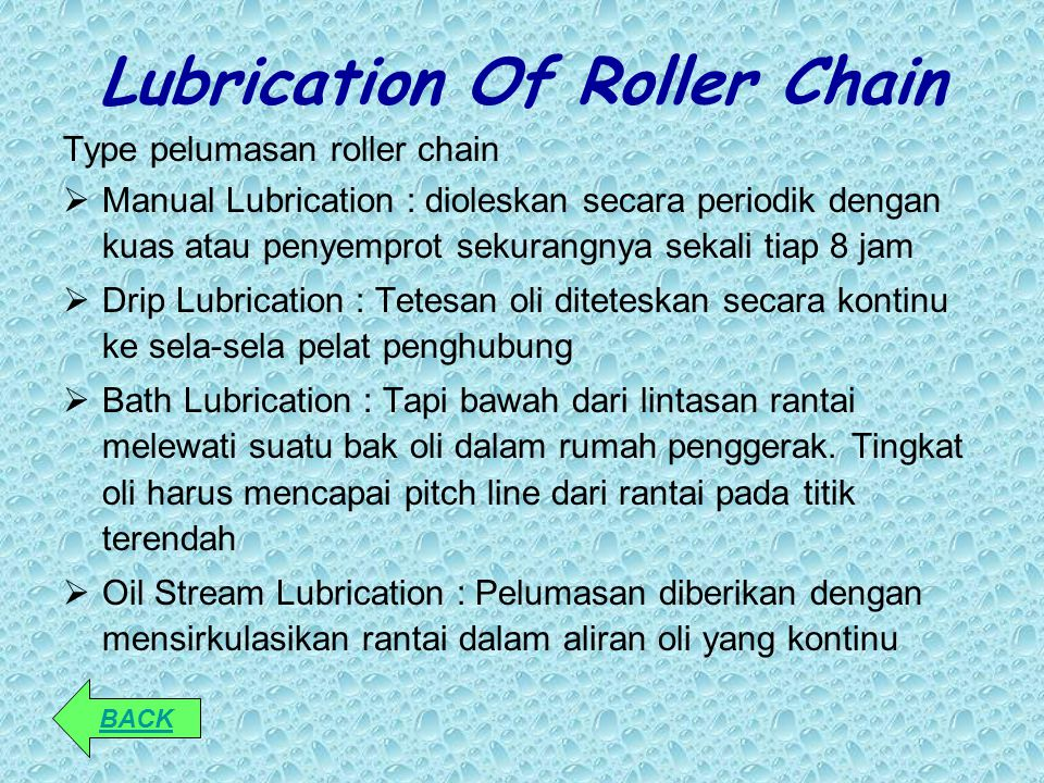 Lubrication Of Roller Chain