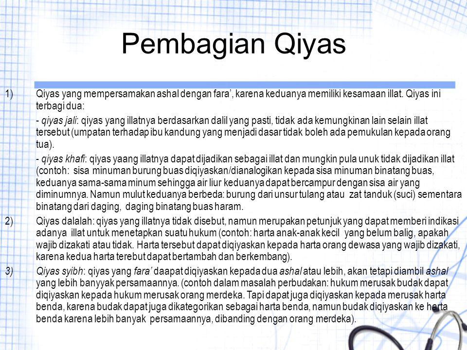 Pembagian Qiyas Qiyas yang mempersamakan ashal dengan fara', karena keduanya memiliki kesamaan illat. Qiyas ini terbagi dua: