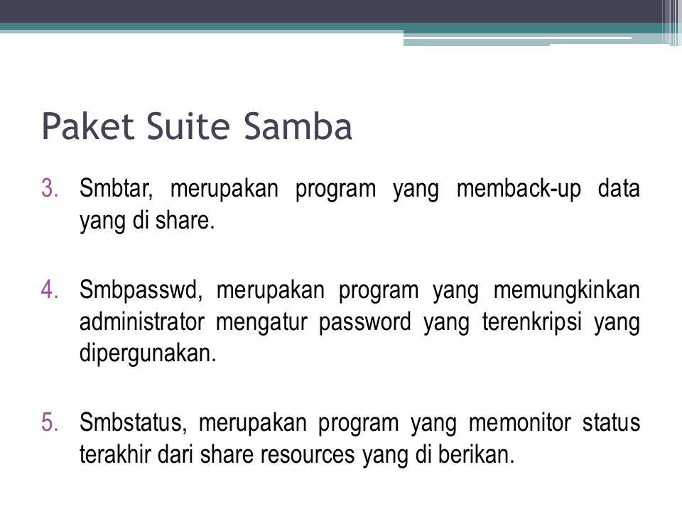 Paket Suite Samba Smbtar, merupakan program yang memback-up data yang di share.