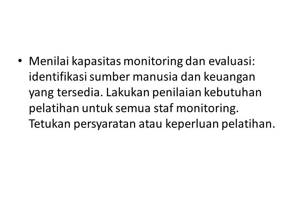 Menilai kapasitas monitoring dan evaluasi: identifikasi sumber manusia dan keuangan yang tersedia.
