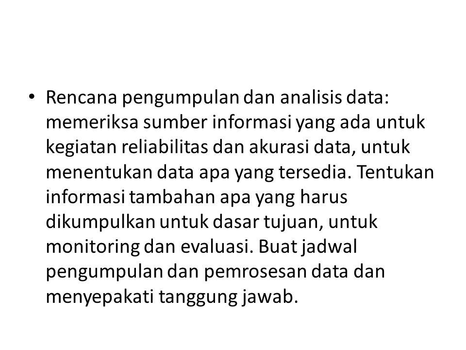 Rencana pengumpulan dan analisis data: memeriksa sumber informasi yang ada untuk kegiatan reliabilitas dan akurasi data, untuk menentukan data apa yang tersedia.
