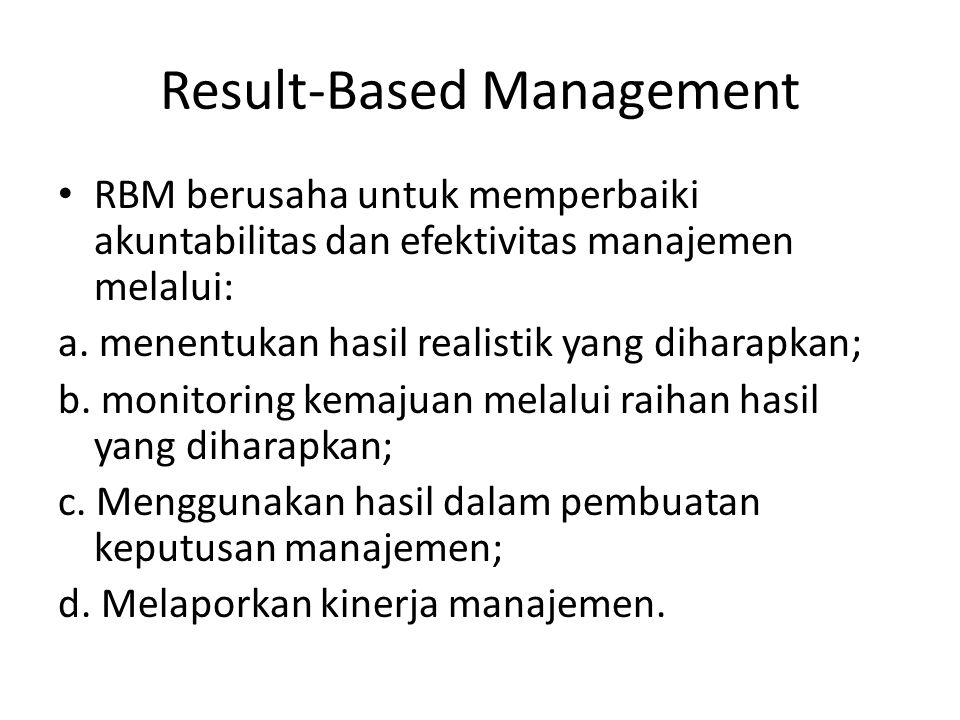 Result-Based Management