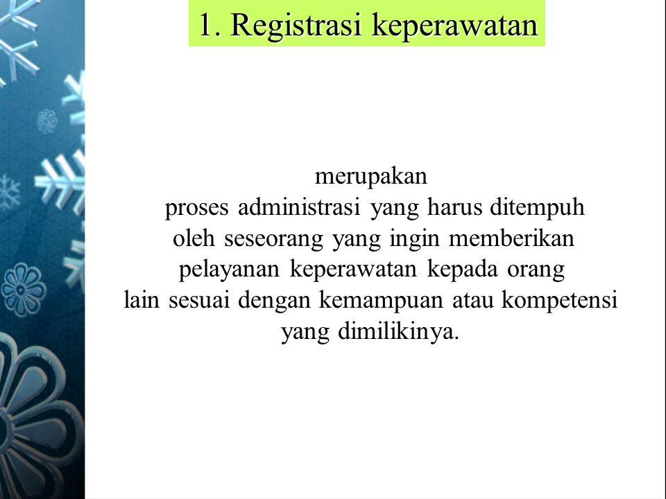 1. Registrasi keperawatan