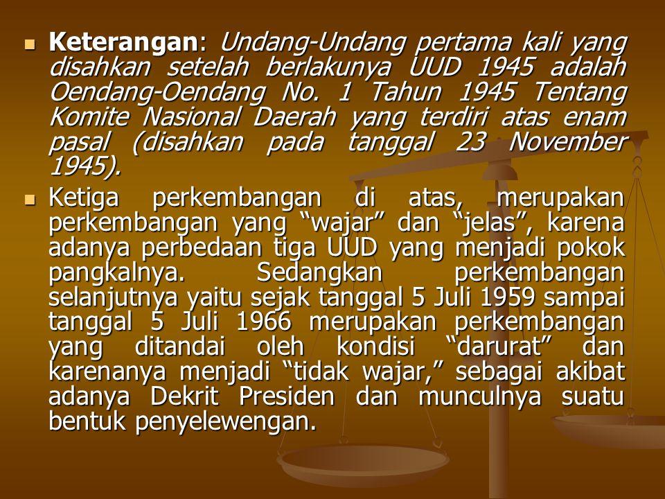 Keterangan: Undang-Undang pertama kali yang disahkan setelah berlakunya UUD 1945 adalah Oendang-Oendang No. 1 Tahun 1945 Tentang Komite Nasional Daerah yang terdiri atas enam pasal (disahkan pada tanggal 23 November 1945).