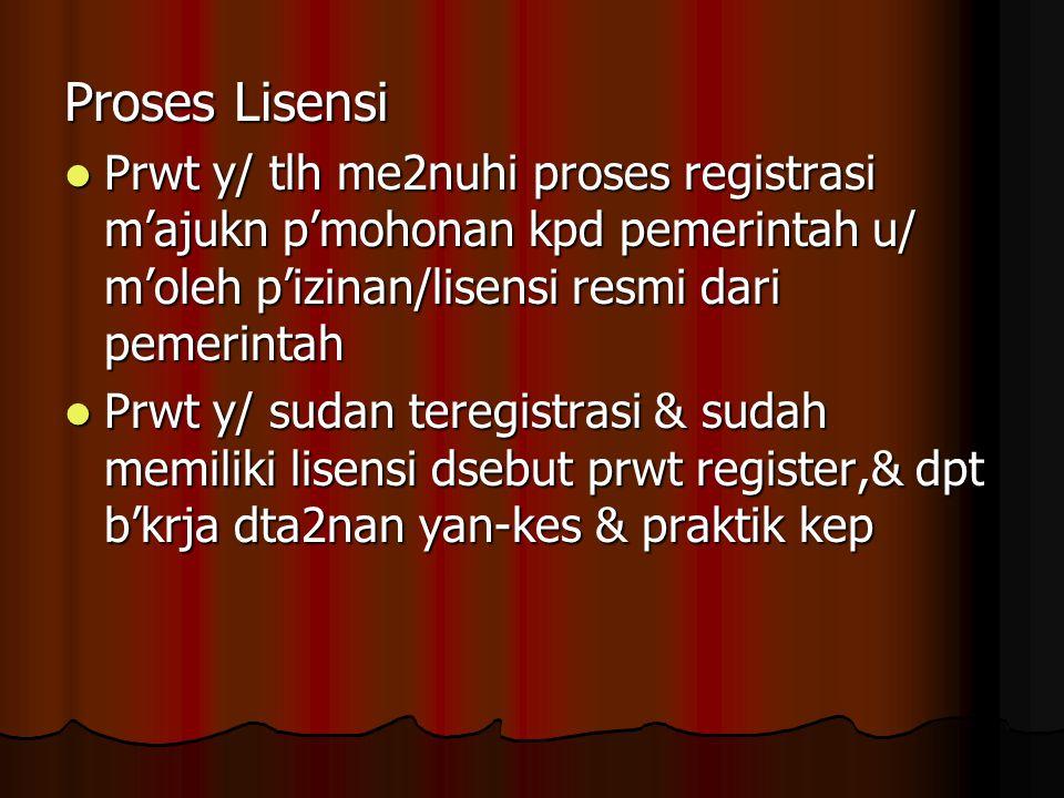 Proses Lisensi Prwt y/ tlh me2nuhi proses registrasi m'ajukn p'mohonan kpd pemerintah u/ m'oleh p'izinan/lisensi resmi dari pemerintah.