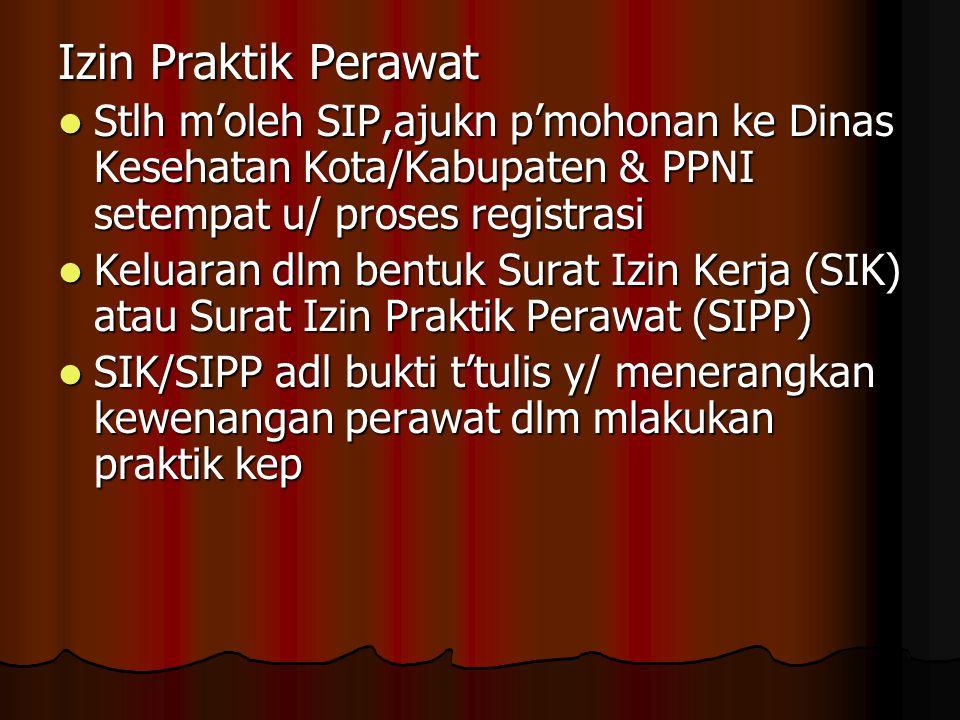 Izin Praktik Perawat Stlh m'oleh SIP,ajukn p'mohonan ke Dinas Kesehatan Kota/Kabupaten & PPNI setempat u/ proses registrasi.