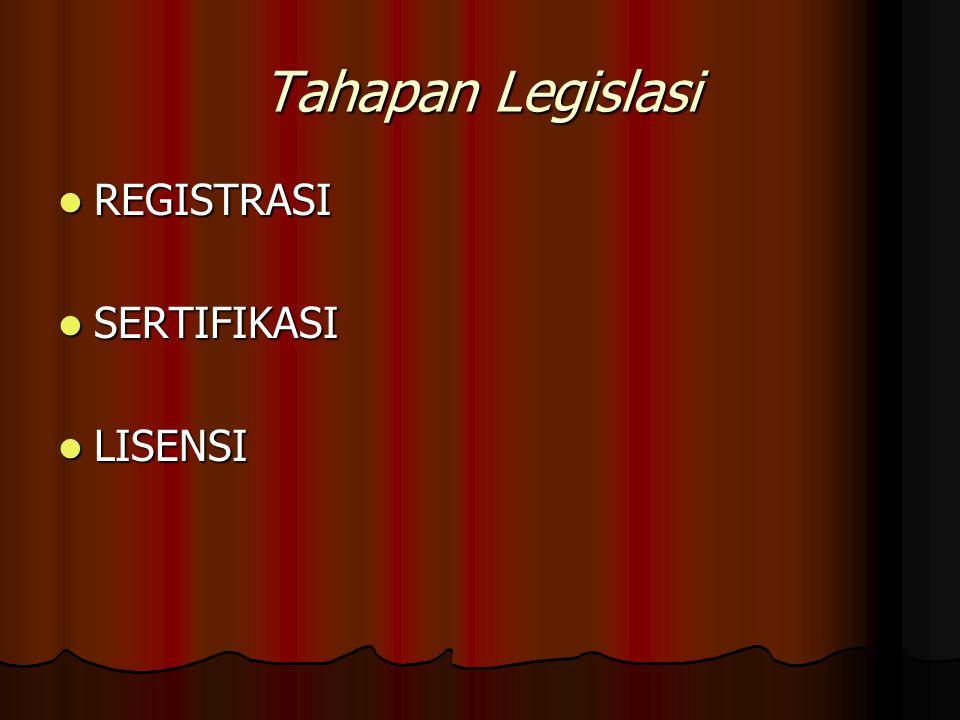 Tahapan Legislasi REGISTRASI SERTIFIKASI LISENSI