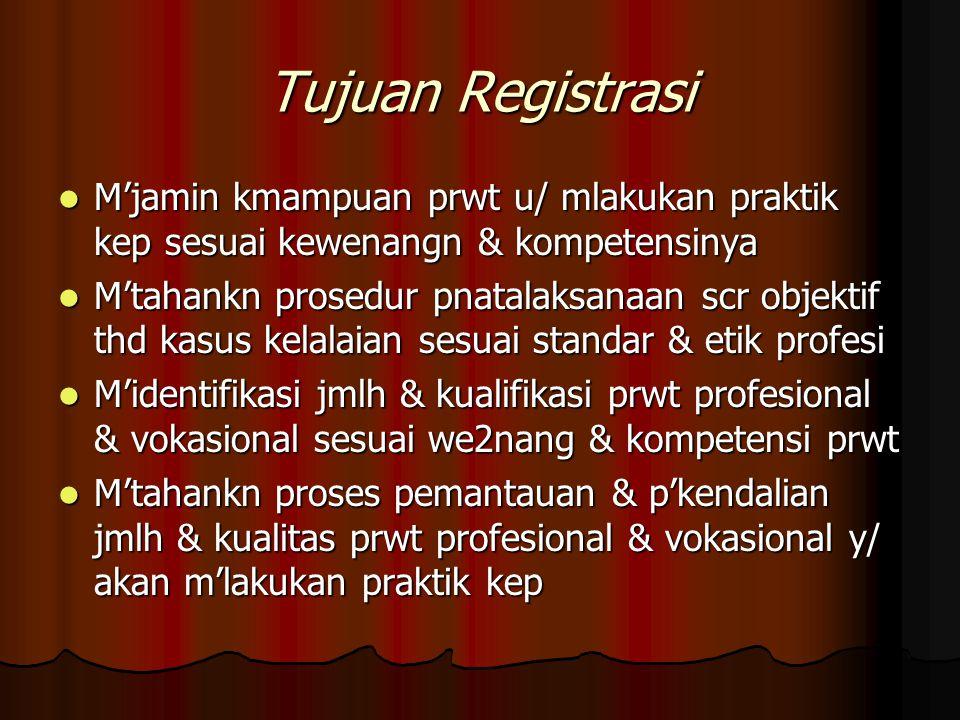 Tujuan Registrasi M'jamin kmampuan prwt u/ mlakukan praktik kep sesuai kewenangn & kompetensinya.