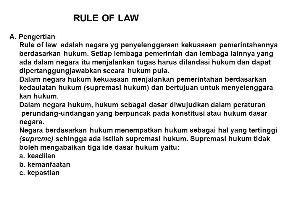 RULE OF LAW A. Pengertian. Rule of law adalah negara yg penyelenggaraan kekuasaan pemerintahannya.