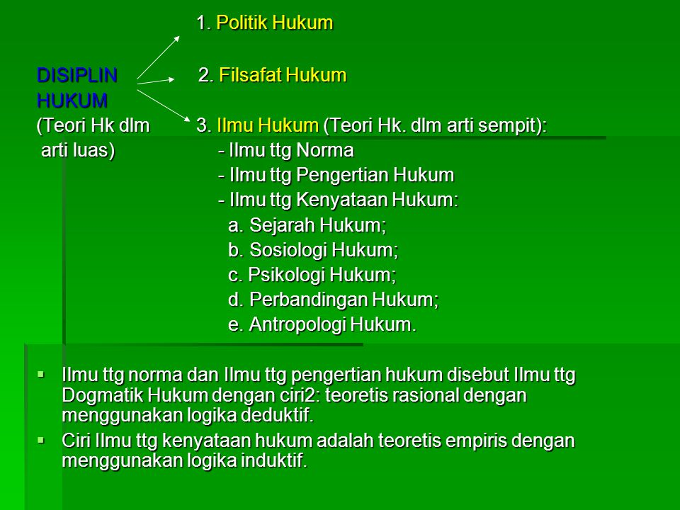 1. Politik Hukum DISIPLIN 2. Filsafat Hukum HUKUM
