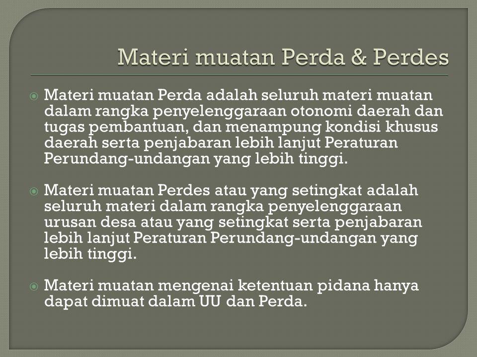 Materi muatan Perda & Perdes