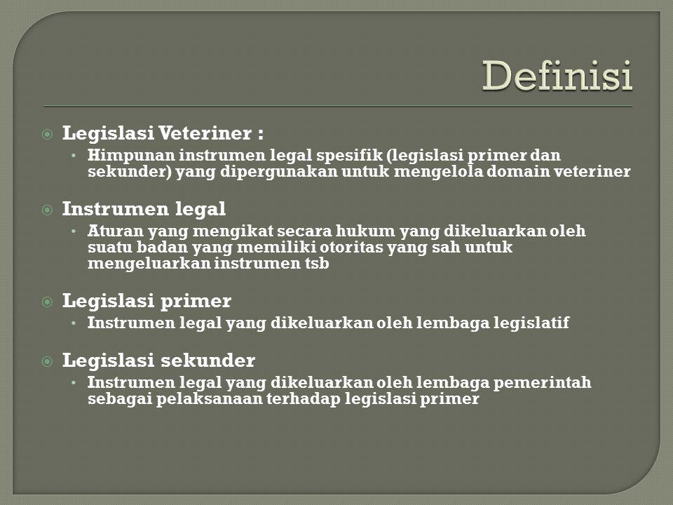 Definisi Legislasi Veteriner : Instrumen legal Legislasi primer