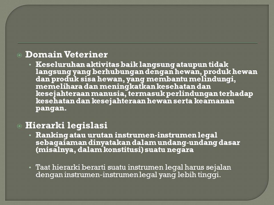 Domain Veteriner Hierarki legislasi