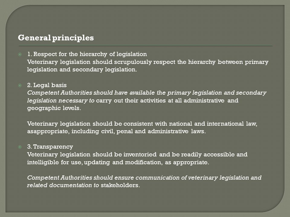 General principles 1. Respect for the hierarchy of legislation