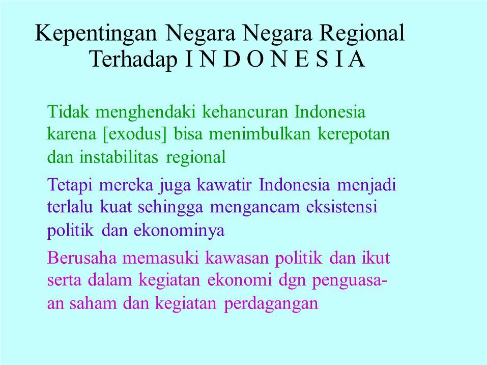 Kepentingan Negara Negara Regional Terhadap I N D O N E S I A