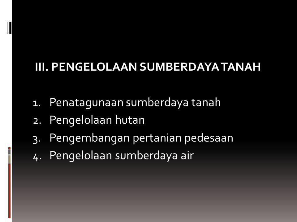 III. PENGELOLAAN SUMBERDAYA TANAH