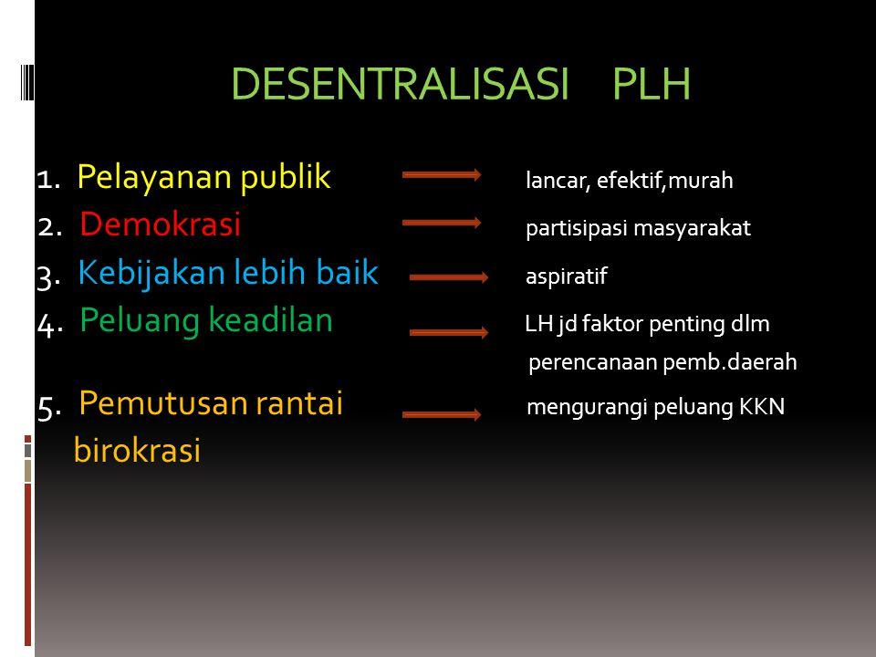 DESENTRALISASI PLH 1. Pelayanan publik lancar, efektif,murah