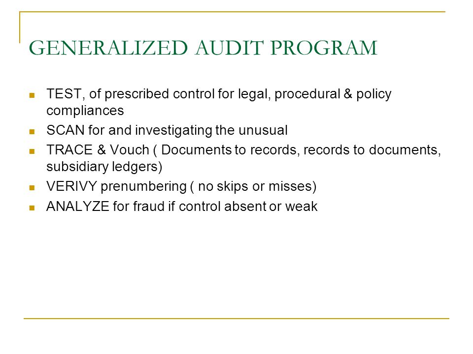 GENERALIZED AUDIT PROGRAM