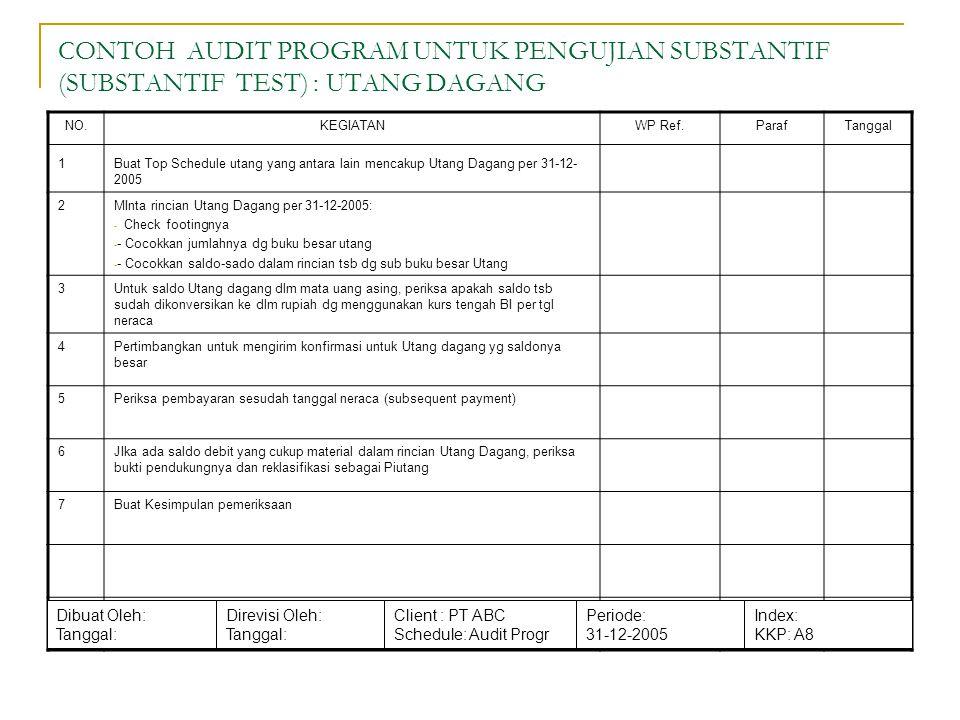 CONTOH AUDIT PROGRAM UNTUK PENGUJIAN SUBSTANTIF (SUBSTANTIF TEST) : UTANG DAGANG