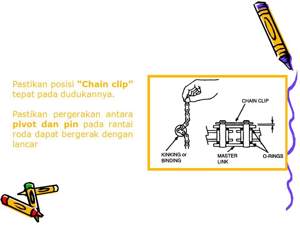 Pastikan posisi Chain clip tepat pada dudukannya.
