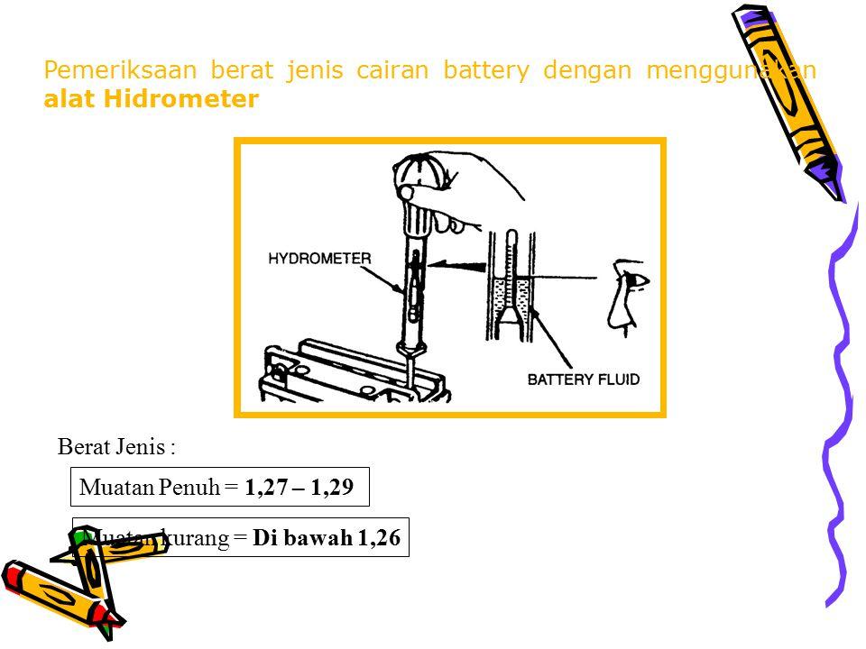 Pemeriksaan berat jenis cairan battery dengan menggunakan alat Hidrometer