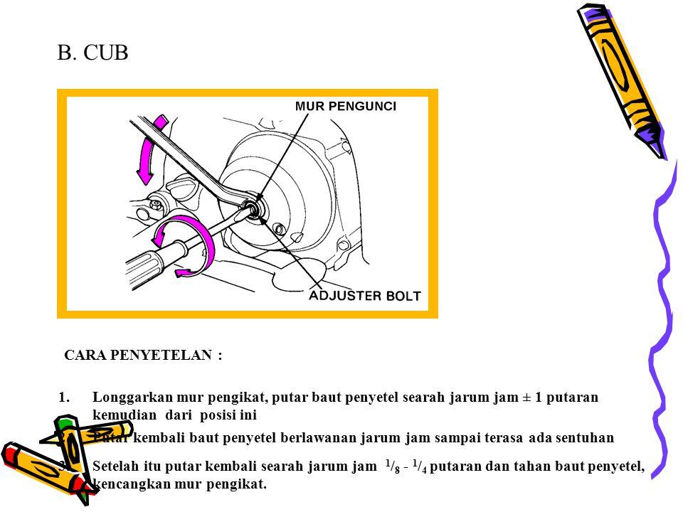 B. CUB CARA PENYETELAN : Longgarkan mur pengikat, putar baut penyetel searah jarum jam ± 1 putaran kemudian dari posisi ini.