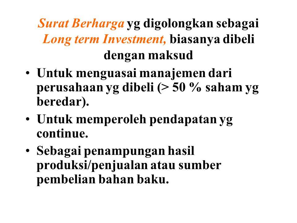 Surat Berharga yg digolongkan sebagai Long term Investment, biasanya dibeli dengan maksud