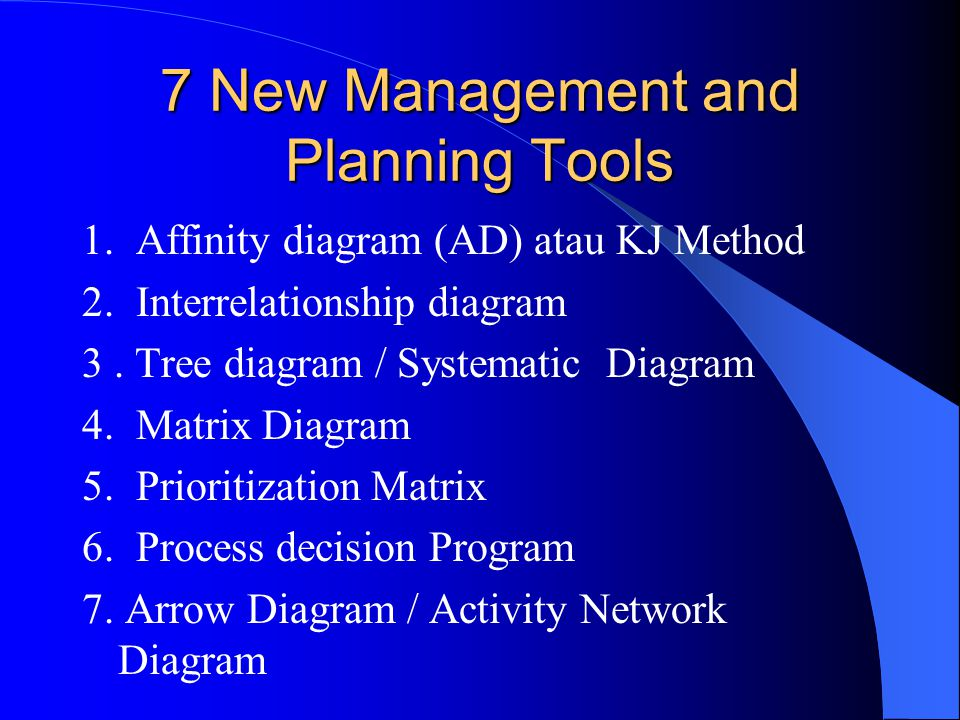 7 New Management and Planning Tools