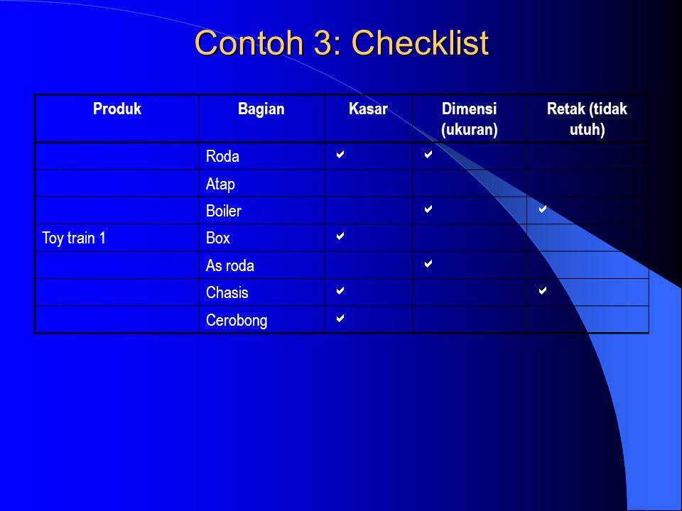 Contoh 3: Checklist Produk Bagian Kasar Dimensi (ukuran)