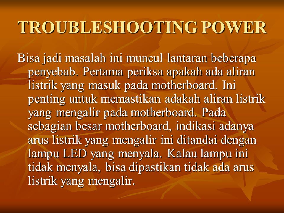 TROUBLESHOOTING POWER