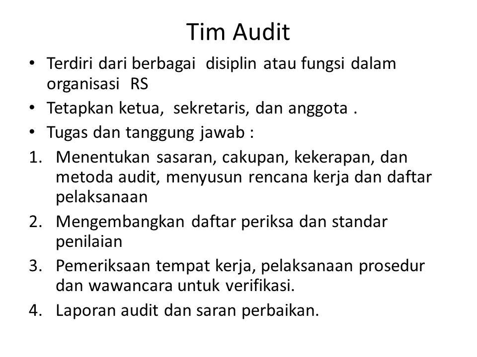 Tim Audit Terdiri dari berbagai disiplin atau fungsi dalam organisasi RS. Tetapkan ketua, sekretaris, dan anggota .