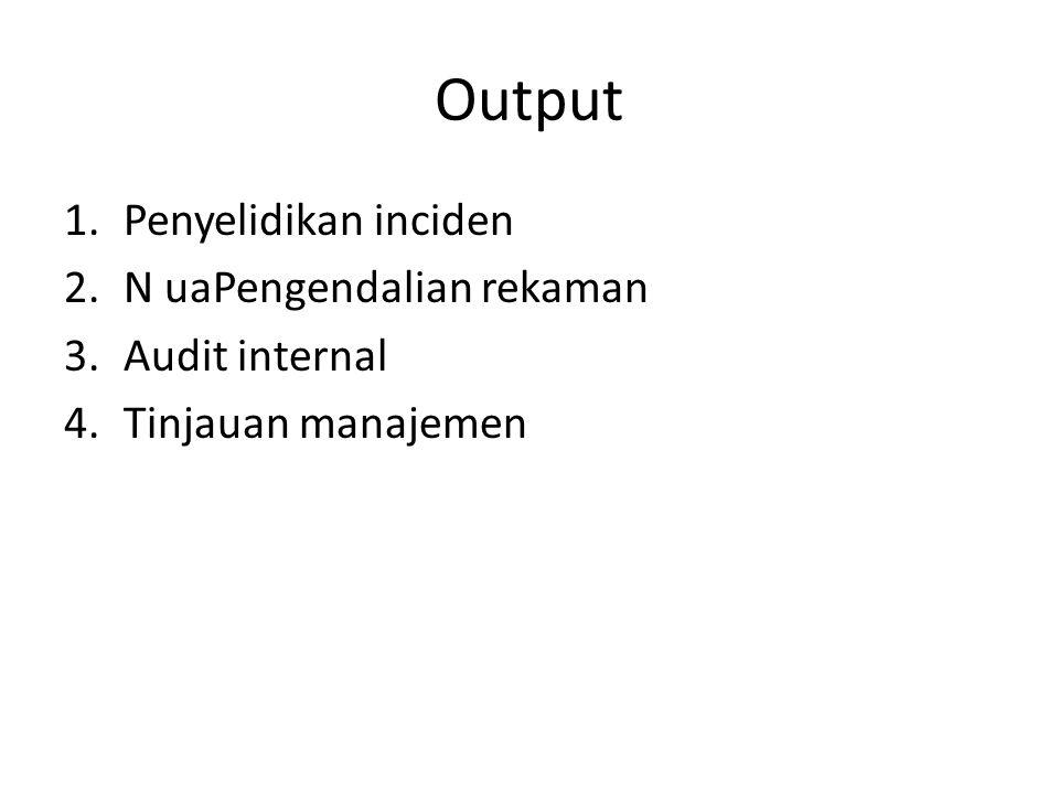 Output Penyelidikan inciden N uaPengendalian rekaman Audit internal
