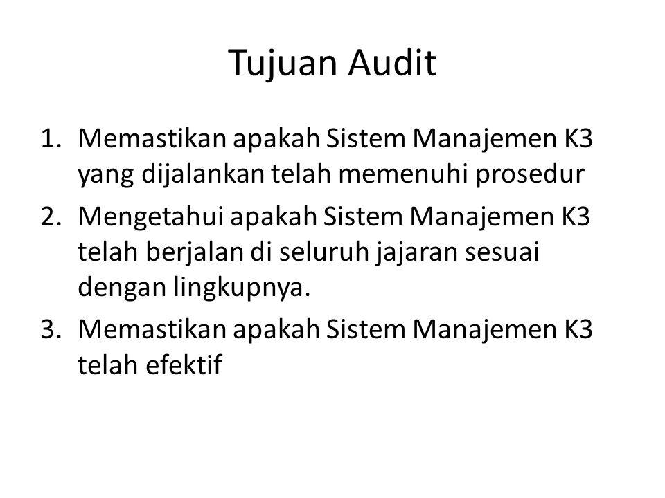 Tujuan Audit Memastikan apakah Sistem Manajemen K3 yang dijalankan telah memenuhi prosedur.