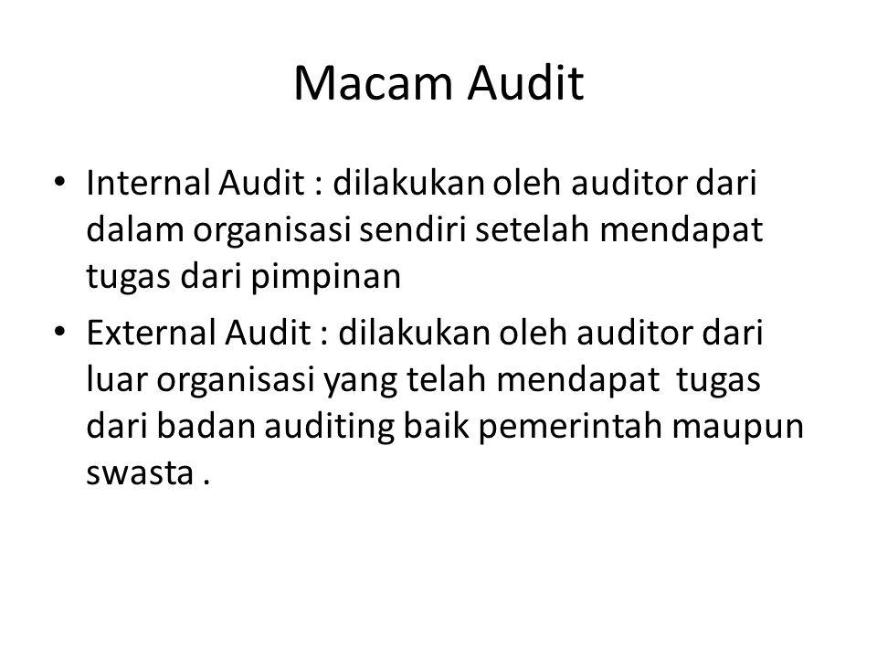 Macam Audit Internal Audit : dilakukan oleh auditor dari dalam organisasi sendiri setelah mendapat tugas dari pimpinan.