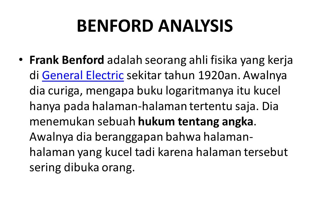 BENFORD ANALYSIS