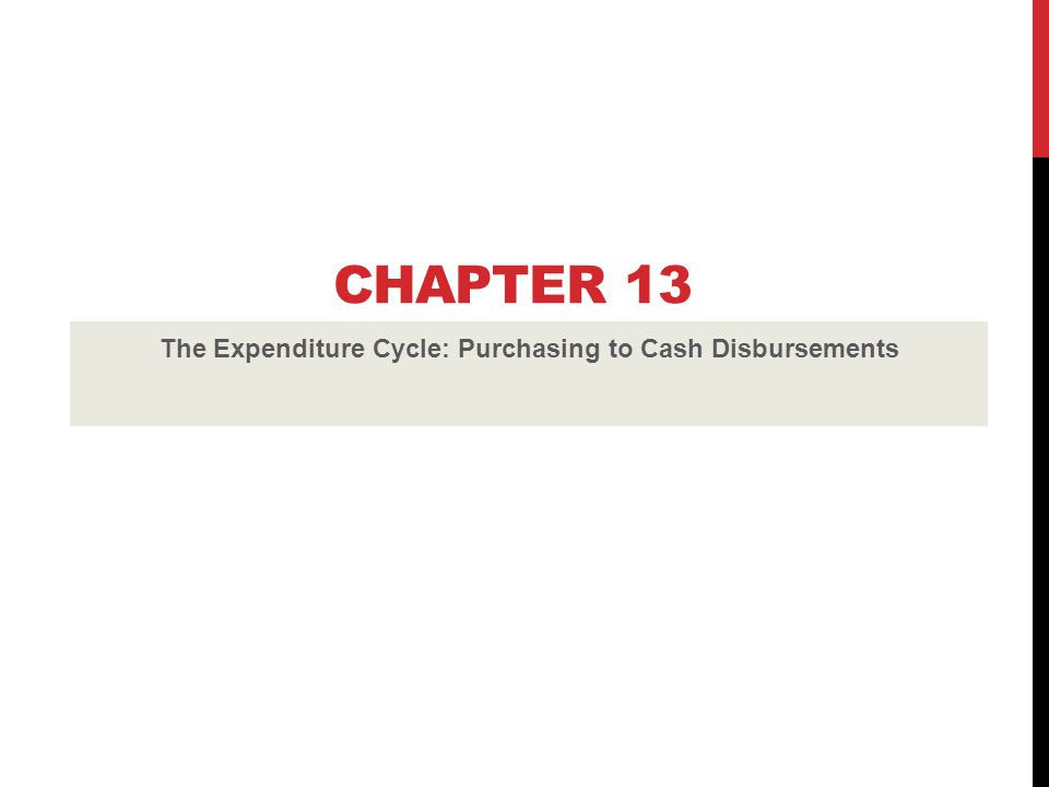 The Expenditure Cycle: Purchasing to Cash Disbursements