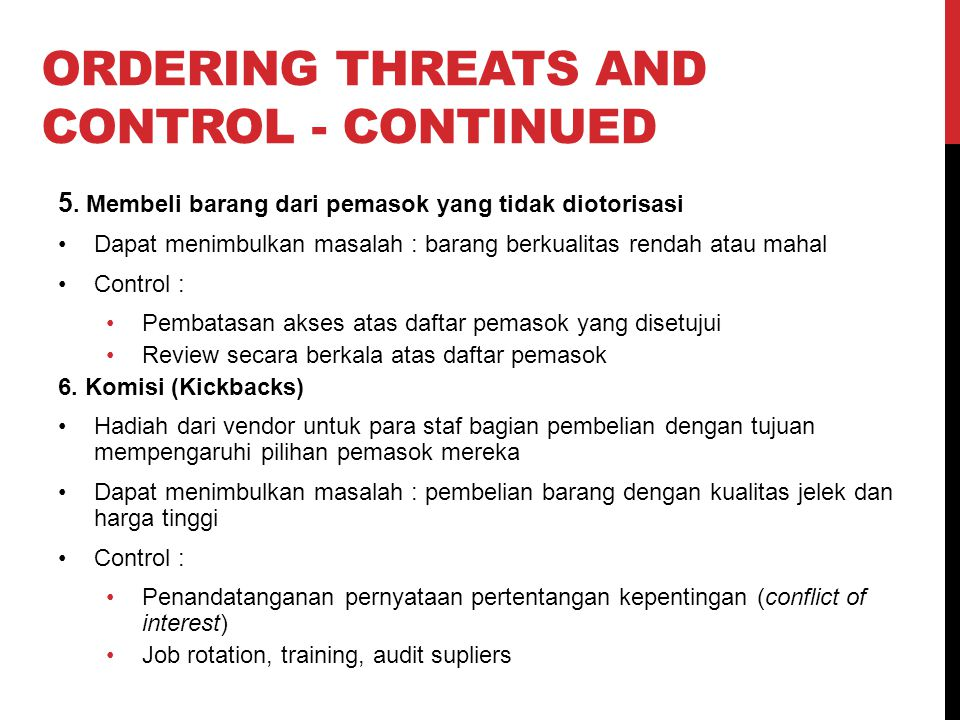 Ordering Threats and control - continued