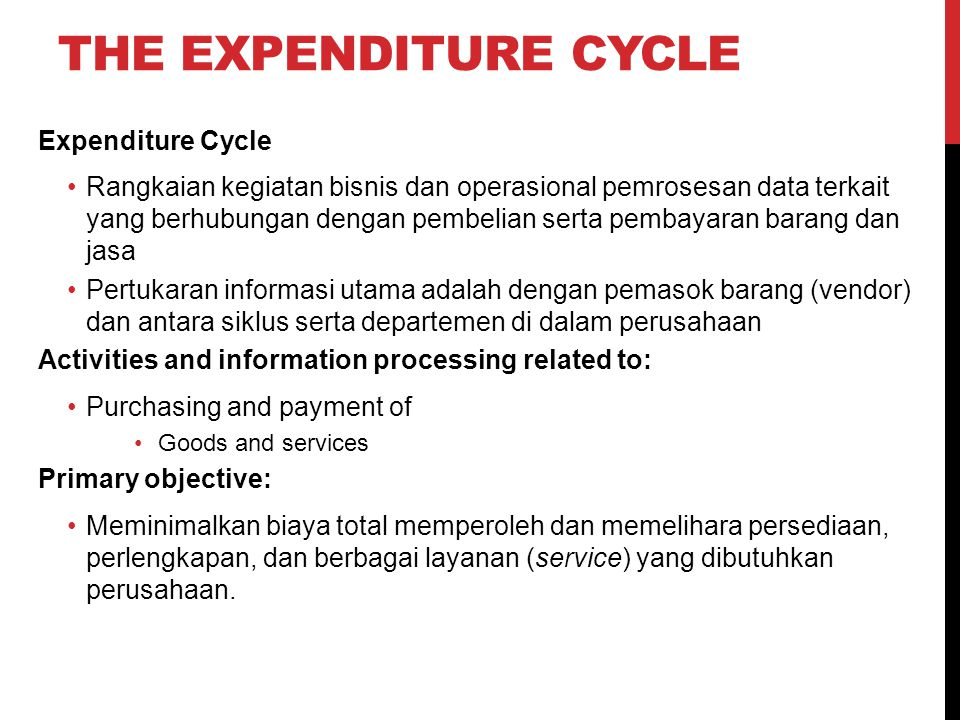 The Expenditure Cycle Expenditure Cycle