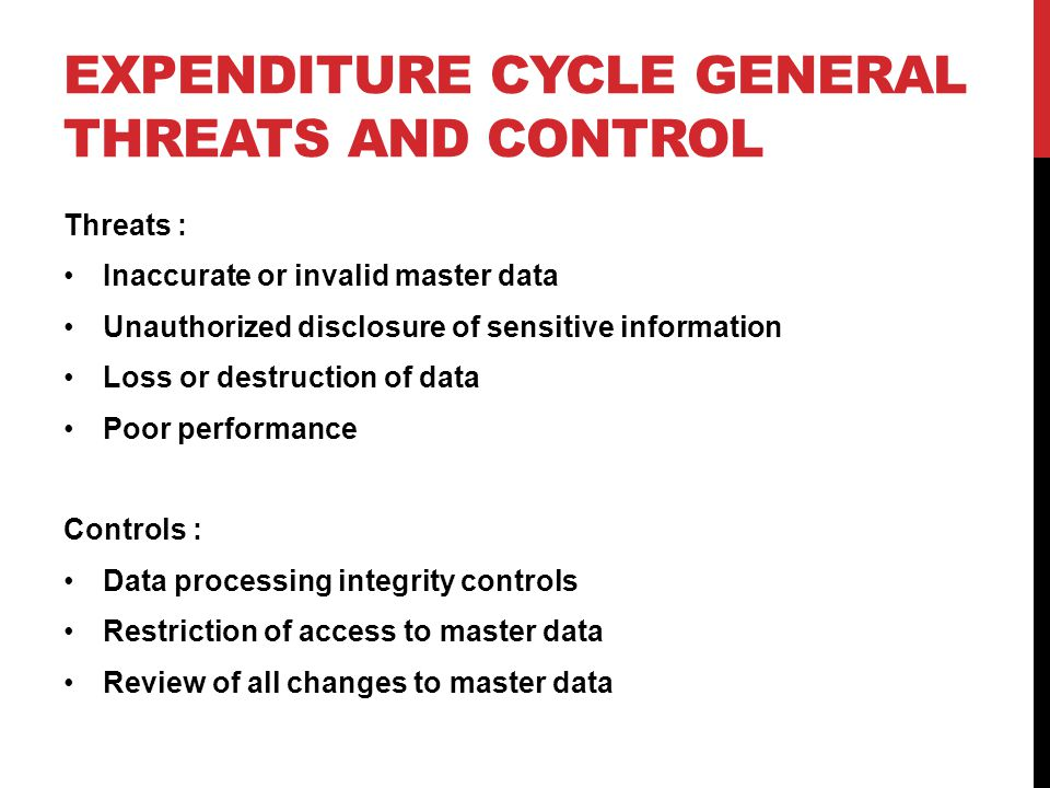 Expenditure Cycle General Threats and control