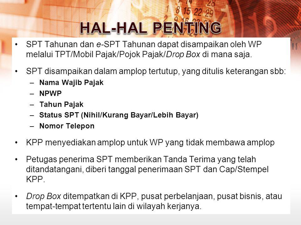 HAL-HAL PENTING SPT Tahunan dan e-SPT Tahunan dapat disampaikan oleh WP melalui TPT/Mobil Pajak/Pojok Pajak/Drop Box di mana saja.