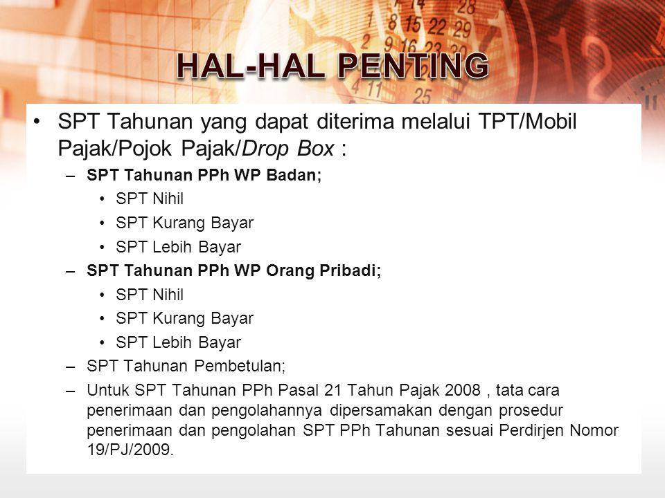 HAL-HAL PENTING SPT Tahunan yang dapat diterima melalui TPT/Mobil Pajak/Pojok Pajak/Drop Box : SPT Tahunan PPh WP Badan;