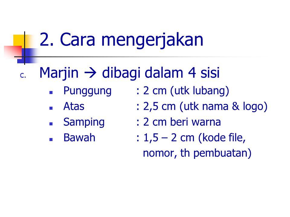 2. Cara mengerjakan Marjin  dibagi dalam 4 sisi