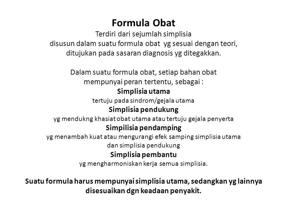 Formula Obat Terdiri dari sejumlah simplisia