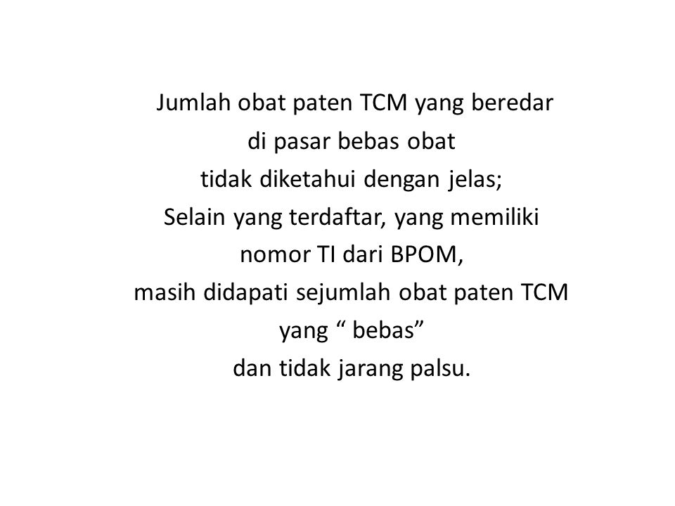 Jumlah obat paten TCM yang beredar