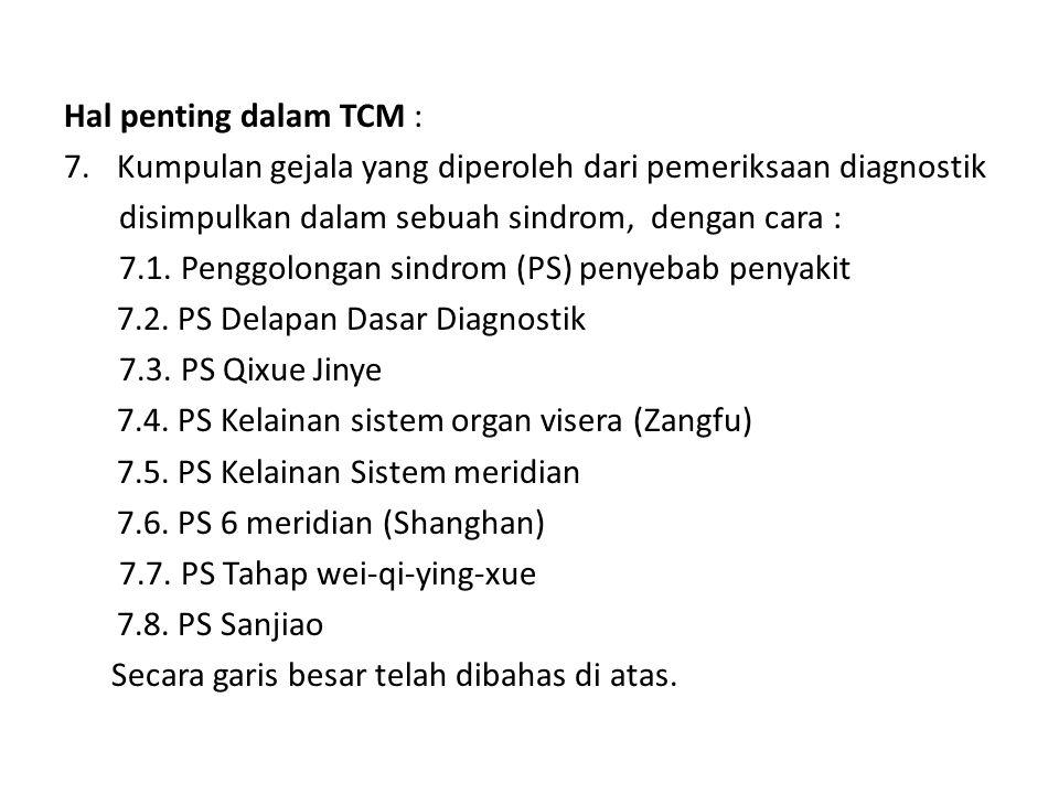 Hal penting dalam TCM : Kumpulan gejala yang diperoleh dari pemeriksaan diagnostik. disimpulkan dalam sebuah sindrom, dengan cara :