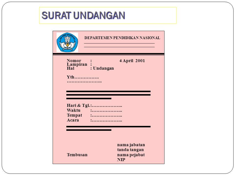 SURAT UNDANGAN Nomor : 4 April 2001 Lampiran : Hal : Undangan