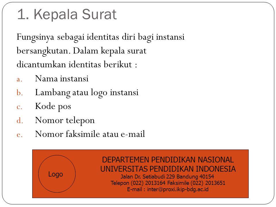 1. Kepala Surat Fungsinya sebagai identitas diri bagi instansi